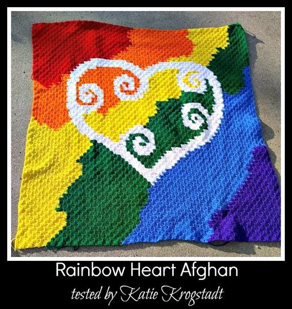 Rainbow Heart Afghan C2C Crochet Graph and Written by CrochetCouch