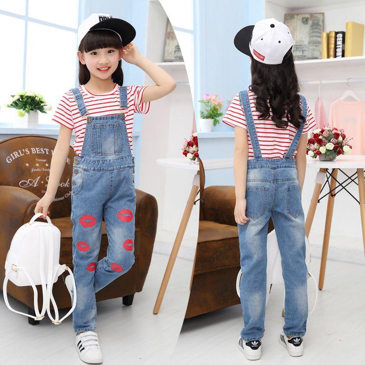 Лето Девушки повседневная красный полосатый футболка + джинсовые Комбинезоны детская Одежда Девочек Костюм девочки-подростка 6-10-13 возраст одежда дети