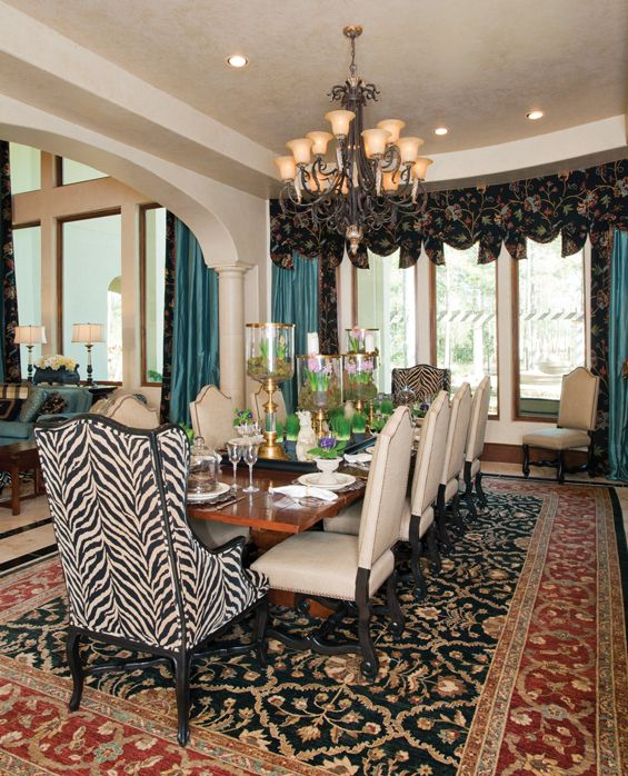 Blue Drapes And Zebra With Rust N Black Rug But It Wor
