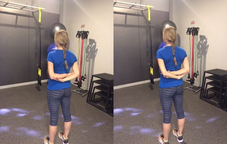 Back Bound Hand Stretch http://www.prevention.com/fitness/7-exercises-that-instantly-un-hunch-your-shoulders/slide/2