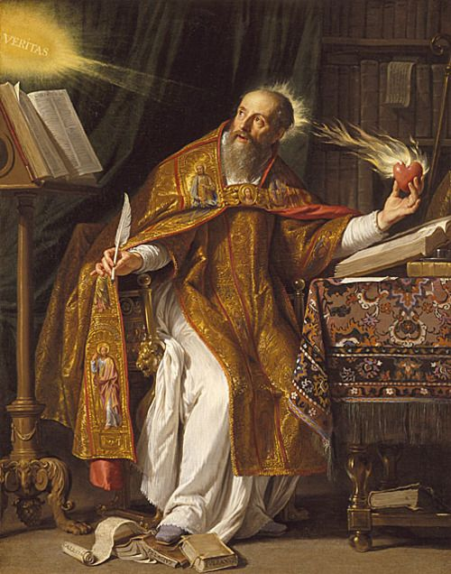 schatzkammer:    Saint Augustine of Hippo (c. 1645–1650), oil on canvas by Philippe de Champaigne (b. 1602, d. 1674)  Notice St. Augustine treading on the heresies of Pelagius and his disciplesCaelestius andJulian of Eclanum, while his heart and mind are illuminated by the light of truth (veritas). The Pelagians denied the reality of original sin.