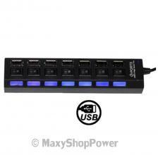MAXY HUB MULTIPORTA CIABATTA USB 7 PORTE 7 LED BLACK NERO NEW NUOVO - SU WWW.MAXYSHOPPOWER.COM