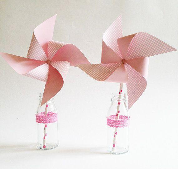 2 Girandole di carta fantasia quadratini rosa / 2 by Partytude