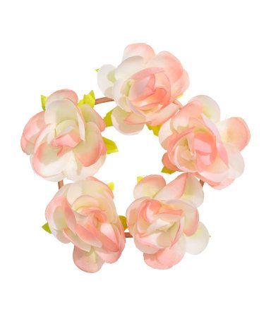 Haarelastiek met bloemen   Roze   Ladies   H&M NL
