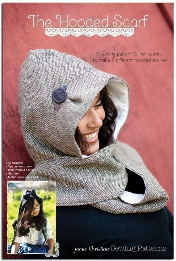 The Hooded Scarf sewing pattern  adult and child by prettydittyp