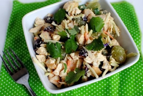 Crunch Chicken Salad with rotisserie chicken, broccoli slaw, dried cranberries, grapes, cashews, greek yogurt instead of mayo (could also sprinkle curry powder on top)