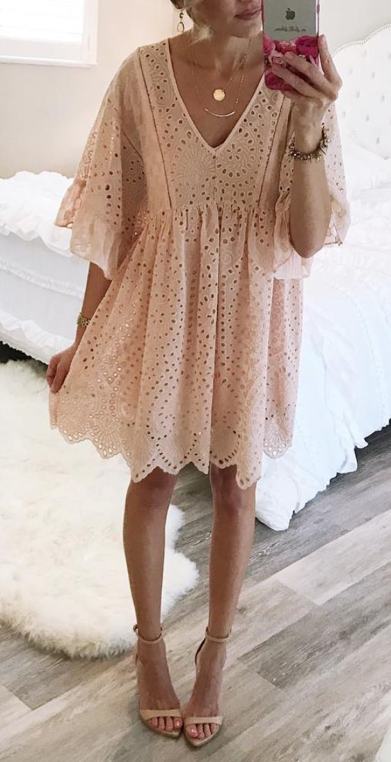 Pretty pink eyelet dress. Everyday or dressy occasions. I would wear this everywhere and it would be threadbare in no time!