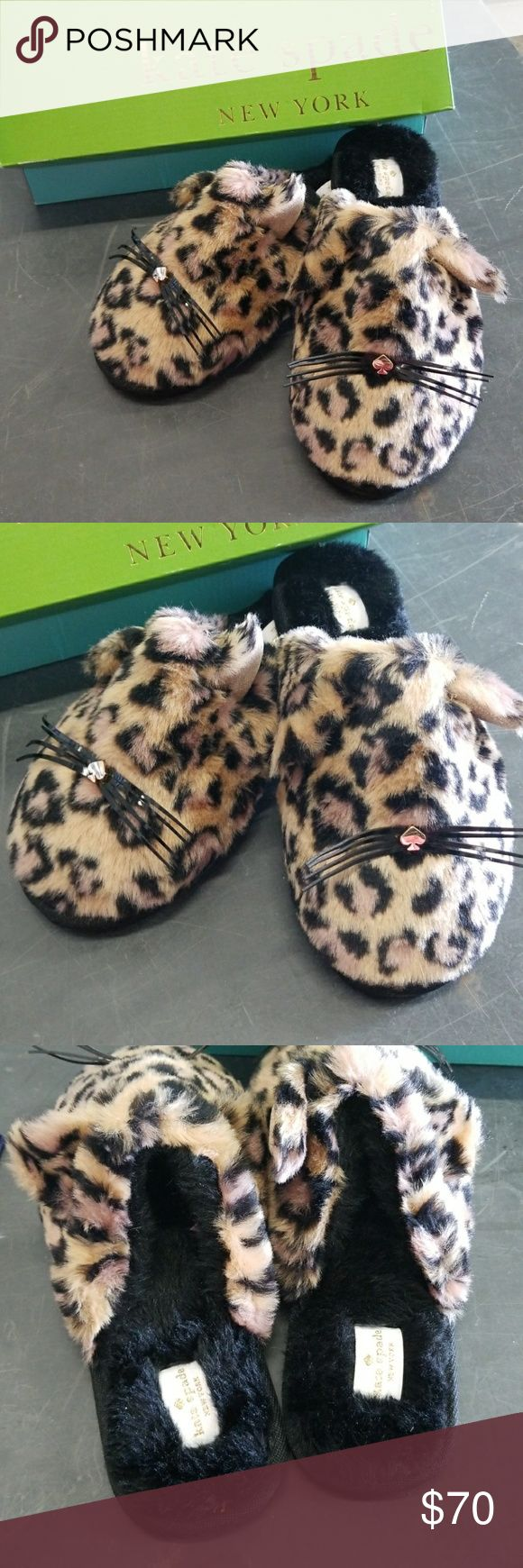 NWT Kate Spade Belindy Slippers Size 7 NWT Kate Spade Belindy Slippers Size 7. These are sold out on Kate Spade's website! Plush slippers finished with pretty kitty details and plush leopard printed fur. this pair is particularly purrfect for cooler temps. Check out my other items for sale, I have a ton!  *All earnings go to the victims of hurricane Maria in PR* kate spade Shoes Slippers