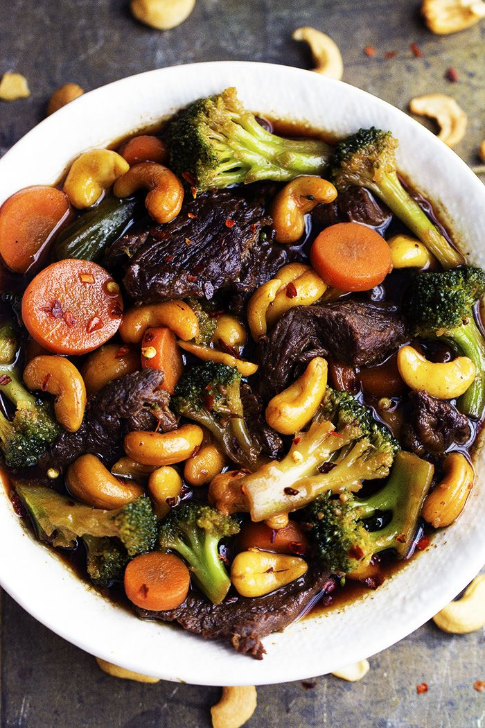 Delicious melt in your mouth beef that cooks right in your slow cooker with veggies and cashews hidden throughout