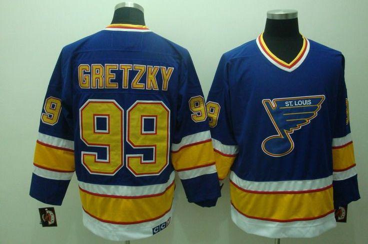CCM ST.LOUIS BLUES #99 Wayne Gretzky Authentic Throwback Blue Jersey