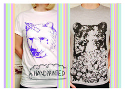Unicorn Bear & My Popcorn Bear T-shirts! All hand printed.
