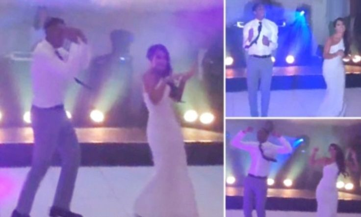 Leroy Fer shows off his dancing feet with his wife at his wedding