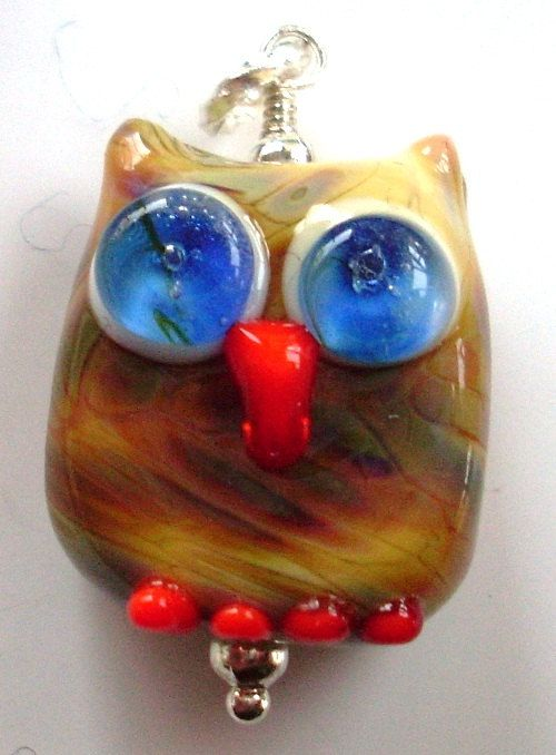 Little Lampwork Glass multicolor Owl bead pendant handmade by me, Nikki OBrien from Bubbles and Beads