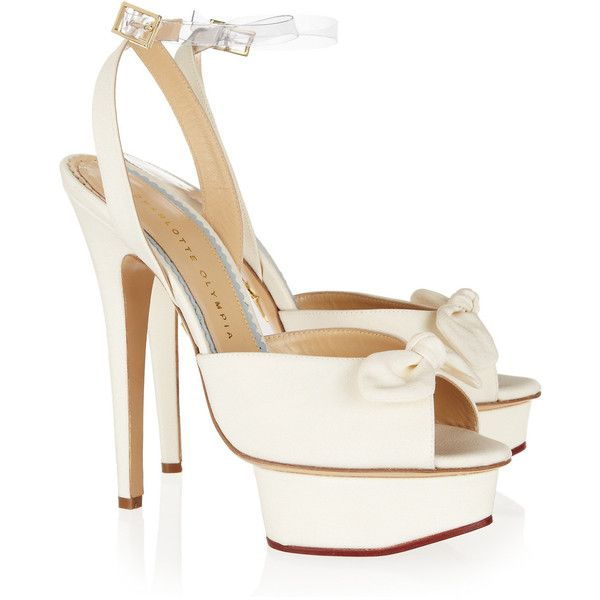 Charlotte Olympia Serena silk platform sandals ($970) ❤ liked on Polyvore featuring shoes, sandals, heels, charlotte olympia, pumps, high heel shoes, nude heeled sandals, strappy high heel sandals, high heeled footwear and clear sandals