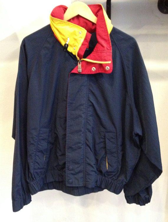 vintage 90 39 s tommy hilfiger windbreaker jacket with hood. Black Bedroom Furniture Sets. Home Design Ideas