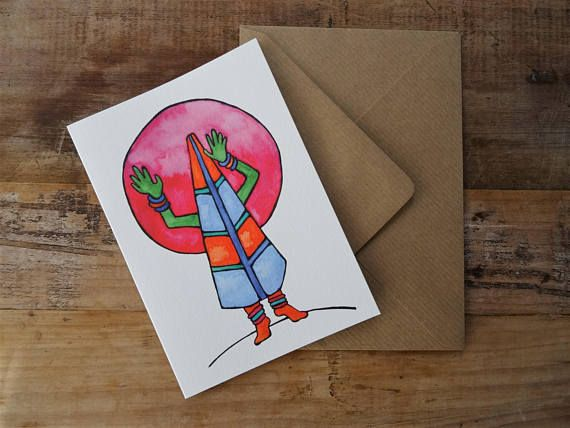 ~Whimsical Greetings Card~ The perfect gift for lovers of the weird + wonderful. Beautiful art print on delicately textured paper + rustic brown envelope. FREE POSTAGE TO UK!! Available @ my Etsy Shop, Roots Wings + Things :)