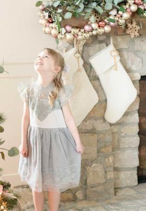 Hazel Grace Vintage Lace Holiday Dress - Holiday Dress - Girls Grey Vintage Holiday Dress - Birthday Dress - Dress Boutique 2