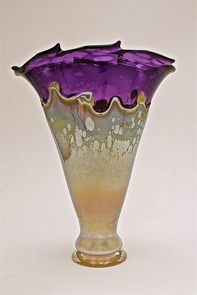 """""""Purple with Iris Yellow Overlay Vase"""" Created by Dierk Van Keppel"""