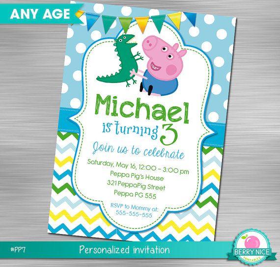 Georges Pig Invitation DIY Peppa Pig by berryniceprintables