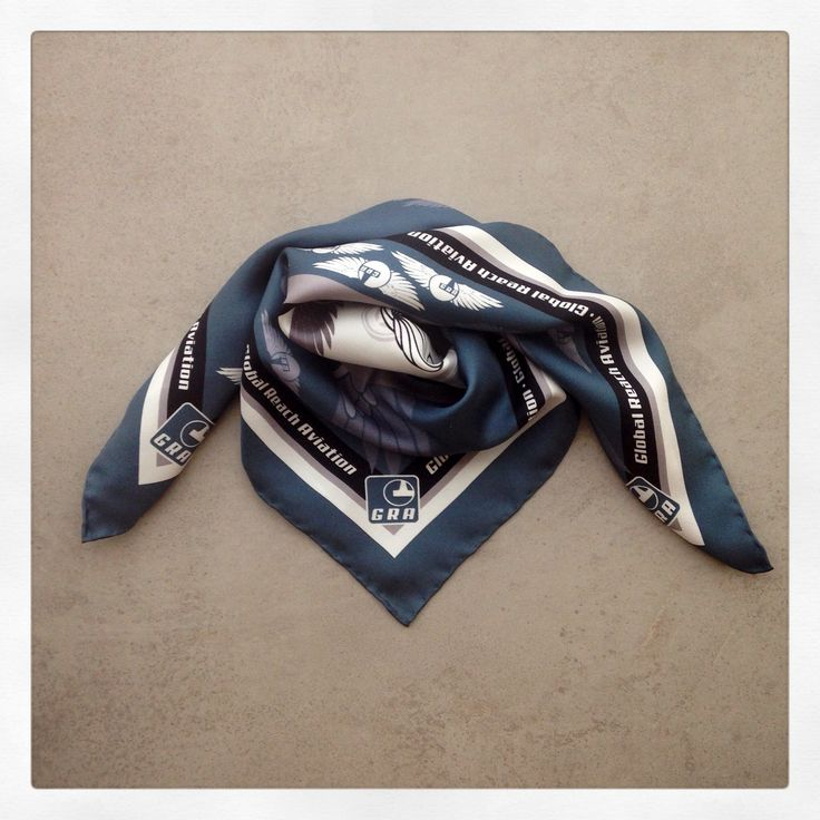 "Silk scarf specially designed by Grecian Chic for the air hostesses & ground staff of the Danish airline ""Global Reach Aviation"""