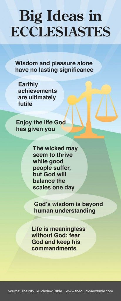 "Ecclesiastes at a glance. ""I had it all and it didn't mean anything without God.Sincerely, King Solomon."" ~ Wisdom literature:a profound kind of thought provoking Poetry. an incredible book!"