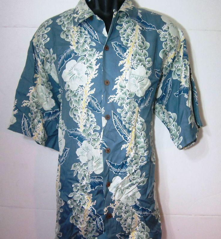 M Hawaiian Tommy Bahama Men Shirt 100 Silk Medium K Fna