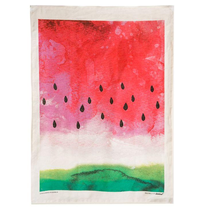 Watermelon Tea Towel Screen Printed In Australia