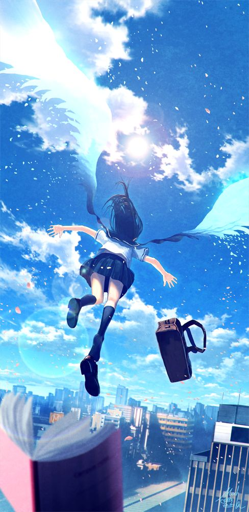 """""""Après les cours cette jeune fille prend son envole en haut d'un immeuble ou personne ne la verrait et part explorer le monde portée par ses ailes énergétiques,libre comme l'air."""""""