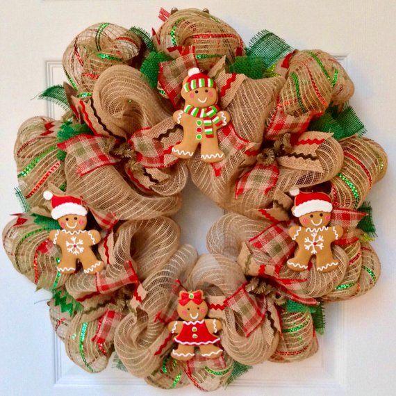 Gingerbread Men Christmas Cookies Handmade Deco Mesh Wreath