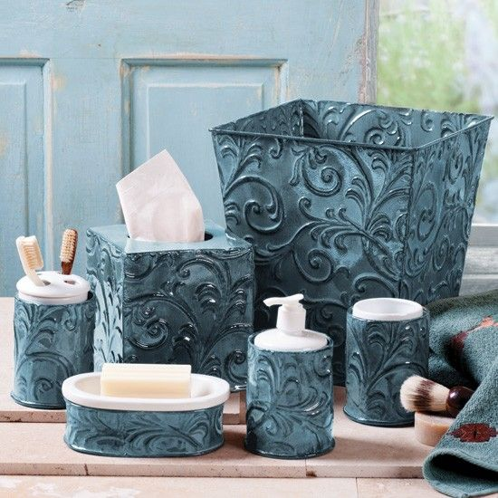 Turquoise vintage pressed tin bath sets western bathroom for Turquoise and brown bathroom decor