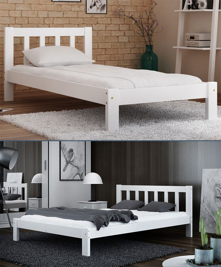 Best Details About White Wooden Bed Frame 4Ft Small Double 400 x 300