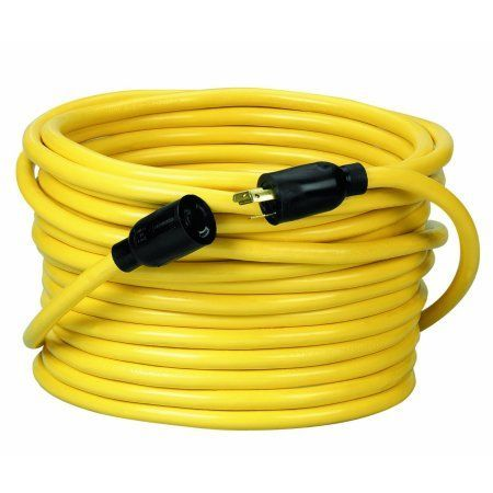 Coleman Cable 09208 12/3 Sjtw Twist To Lock Extension Cord, 20-Amp, 50', Yellow