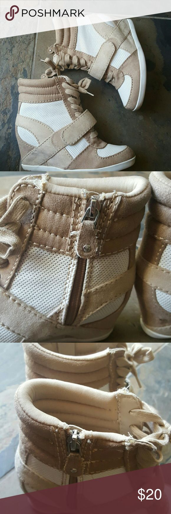 Vera Wang tan white wedge sneakers SimplyVera Vera Wang swade tan and white lace sneakers wedge gently worn size 6 but I'm a 6.57 so there is wiggle room at if you are a size 6 Simply Vera Vera Wang Shoes Wedges
