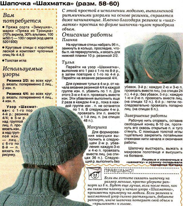 шапки вязаные спицами мужские - Поиск в Google