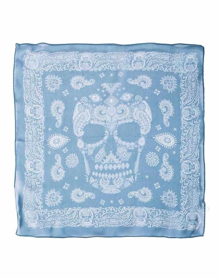 BANDANA CACHEMIRE SKULL 35 - Bandana da polso, stampa Paisley&Skull, 100% seta, 35 cm, Made in Italy. #htclosangeles #tradingcompany #losangeles #weareartisans #skull #bandana #silk #handmade