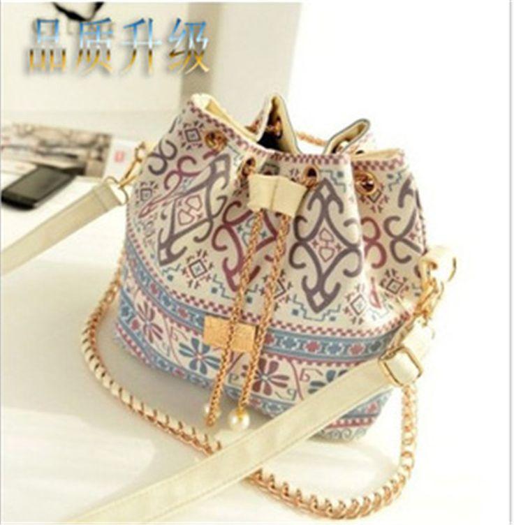 Bohemia Canvas Drawstring Lady Bucket Bag Shoulder Handbags Women's Vintage Messenger Bags Bolsa Feminina Bolsos