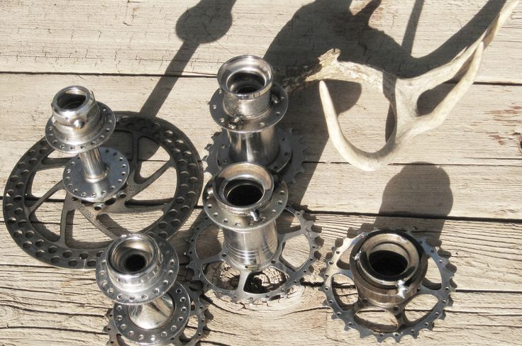 bicycle gear candle holders.  made with reclaimed bicycle parts.   buy em here: revolta.etsy.com