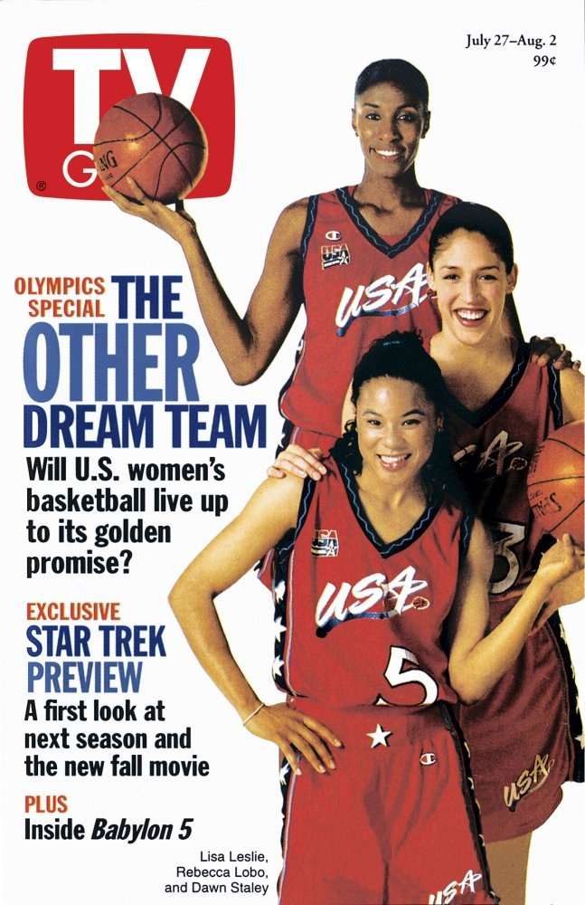 July 27, 1996. Atlanta Olympics featuring U.S. women's basketball players Lisa Leslie, Rebecca Lobo and Dawn Staley