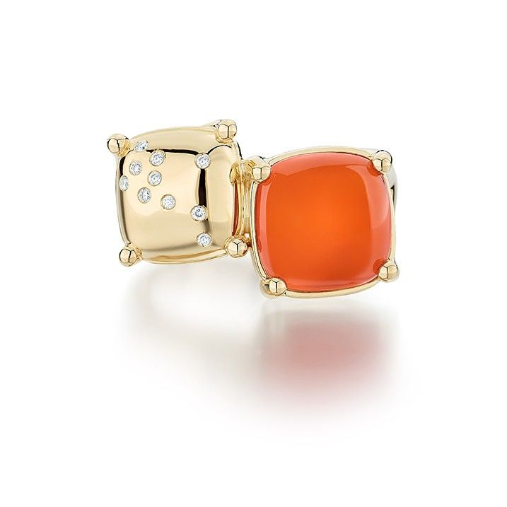 Ecksand Dual Carnival Orange Ring  Statement Ring - Fine Jewelry- Yellow Gold - Carnelian - Diamond - Orange Stone