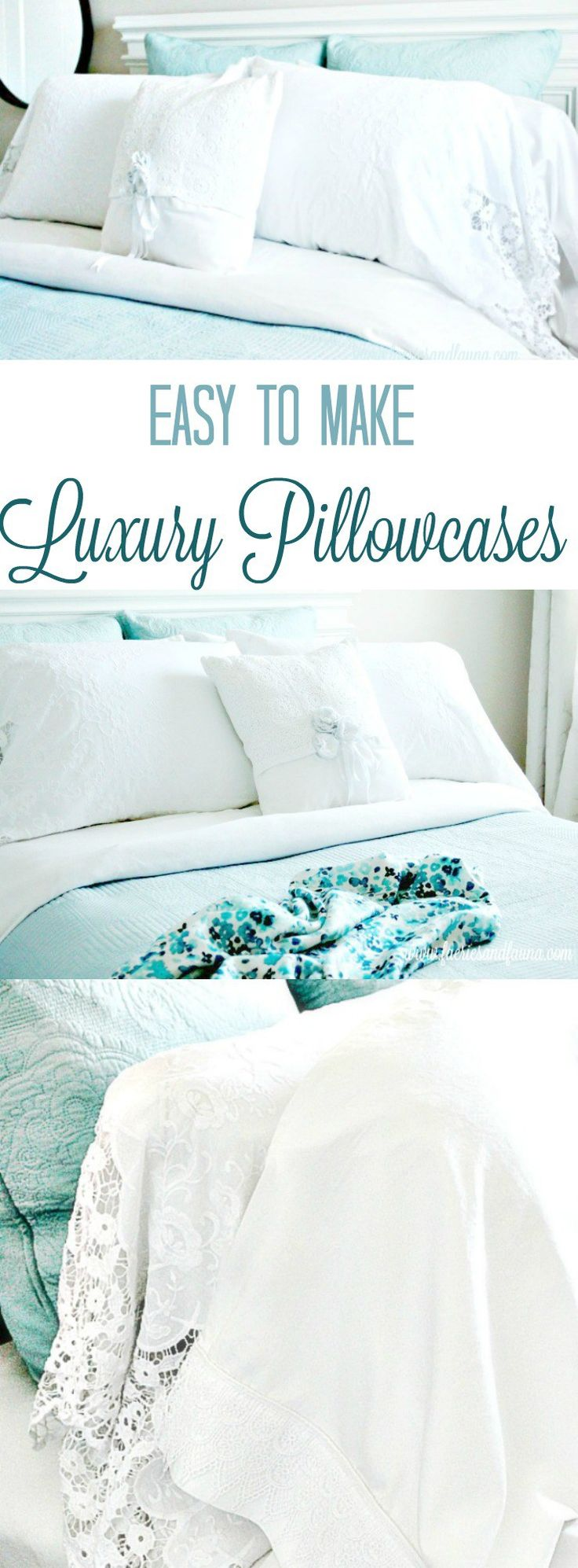 Homemade pillowcases,sewing pillowcases, easy pillowcase pattern, pillowcase sewing patter, pillowcase ideas, diy pillowcase, lacy pillowcase, luxury pillowcase