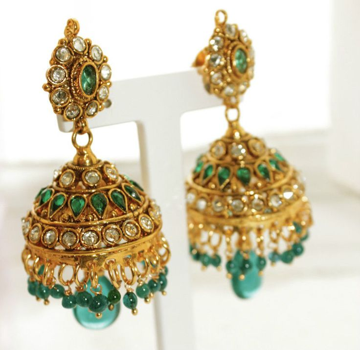 Turquoise Jhumka Bell Indian Rajasthani Traditional Earrings Bollywood Antique