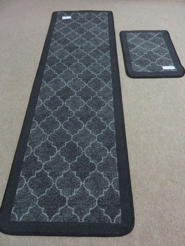 Black Grey Soft Short Pile Kitchen Runner Rug Non Slip Back + FREE Mat  Brand New
