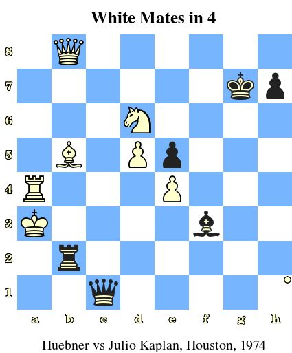 White Mates in 4. Huebner vs Julio Kaplan, Houston, 1974 www.jouer-aux-echecs.com #echecs #chess #jeu #strategie