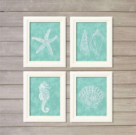 Nautical Creatures Turquoise Blue -8x10- Starfish Seafoam Shell Beach Ocean Instant Download Digital Print Bath Living Room Decor Wall Art on Etsy, $7.70