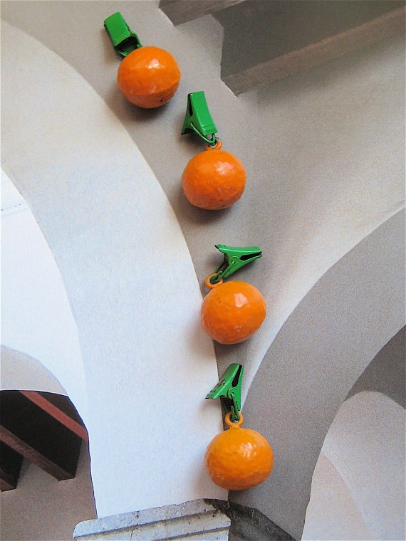 Vintage Clips Finding Iron Tablecloth Weights ORANGES
