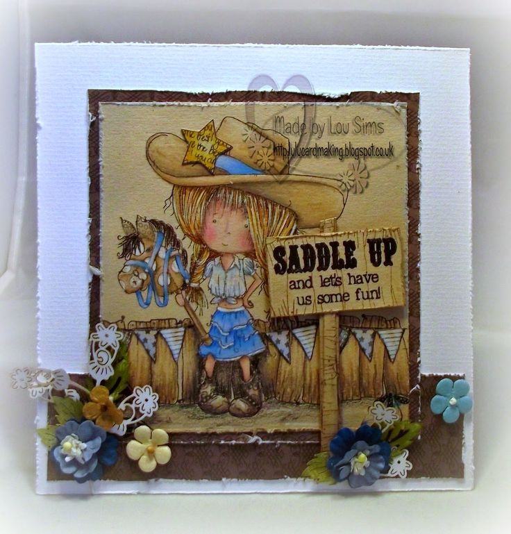 Tatty Twinkle Cowgirl image coloured with Prisma Pencils. Lulu and Cardmaking.