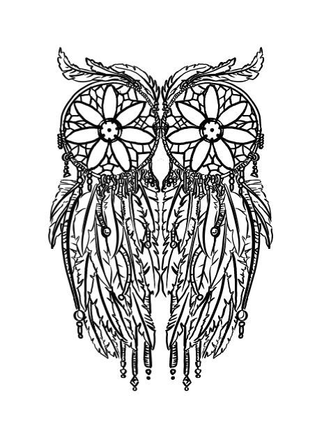 tattoo owl coloring pages - photo#6
