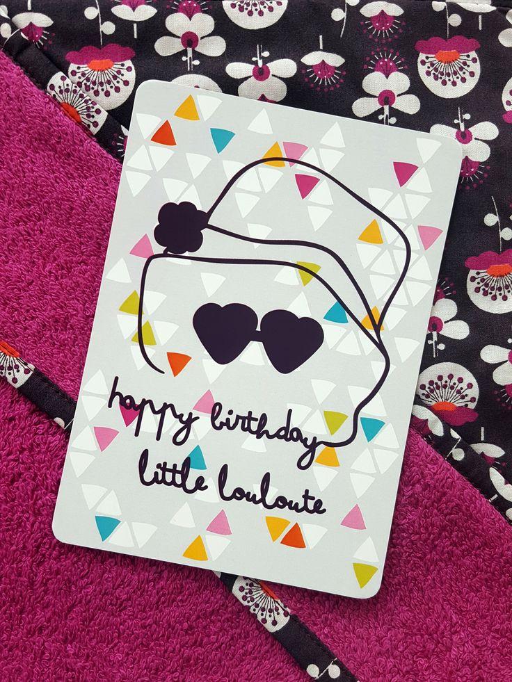 Carte d'anniversaire enfant Louloute un peu rétro | Pigment des Belettes