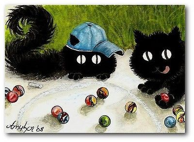 Peek&Boo Black Cats Playing Marbles Knuckes Down FuN ArT - ACEO LE Print