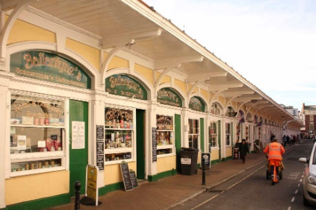 Butchers Row in Barnstaple, North Devon. 40 years ago theft where all butchers shops except one which was a wet fish shop